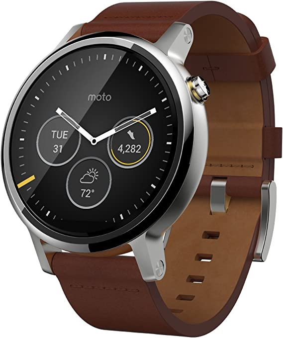 Motorola Moto 360 (2nd Gen.) - Mens 46mm, Silver with Cognac Leather