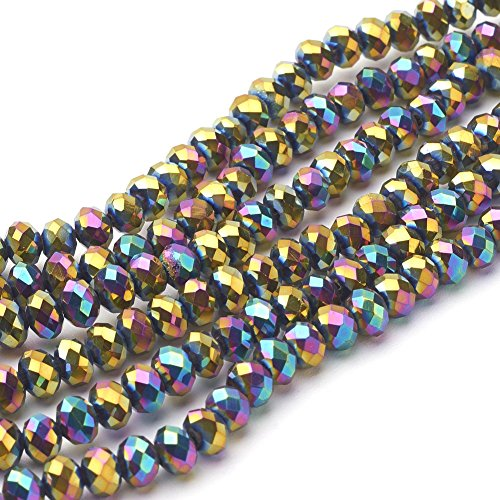 NBEADS 10 Strands Multi-Color Plated Faceted Abacus Electroplate Glass Beads Strands with 6x4mm,Hole: 1mm,About 100pcs/strand ()