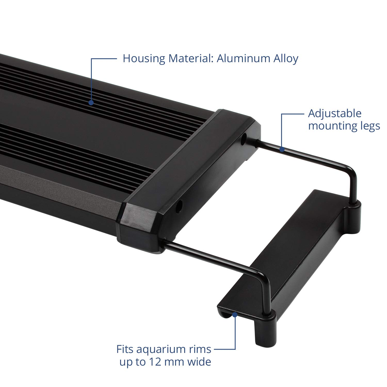 NICREW Luz LED Acuario RGB, Pantalla LED Acuario con Control Remoto, Iluminación LED para Acuarios Plantados Lámpara LED para Peceras 72-92 cm, ...