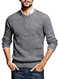 Kathemoi Mens Casual Pullover Sweaters Crew Neck Long Sleeve Cable Knit Sweater Tops