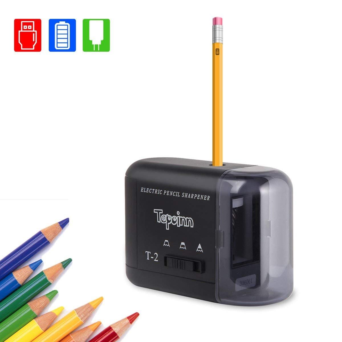 Sacapuntas elé ctrico USB/baterí a para escuela y oficina Tepoinn