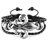 Aprilsky Jewelry Unisex Vintage Tibetan Charms Bangle Black Brown Leather Adjustable Bracelet 7-9inches