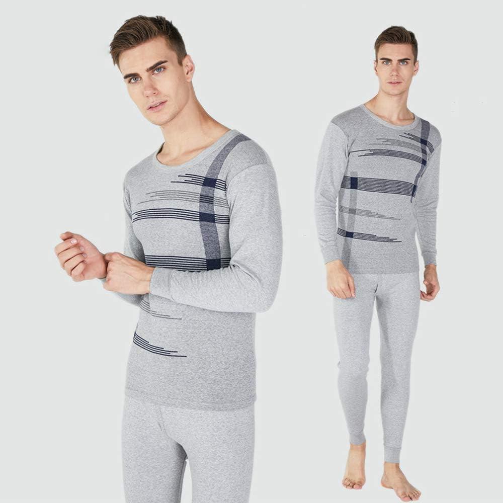 DAZISEN Conjuntos de Ropa Interior Térmica para Hombres - Camiseta y Pantalón Pijamas Días Fríos de Invierno, Gris/L: Amazon.es: Ropa y accesorios