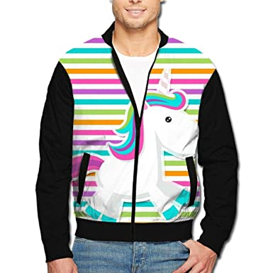 660769a16 HTRHA Men's Zip Front Jacket colorful Sexy Striped Unicorn Print ...