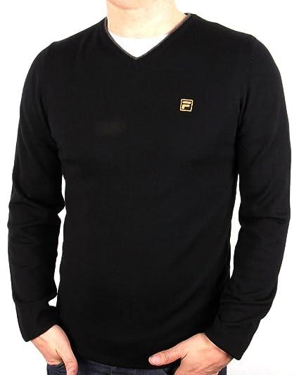 f5874dcf374 Fila Bucci Knitwear Merino Wool V-Neck Jumper Black Large: Amazon.co ...