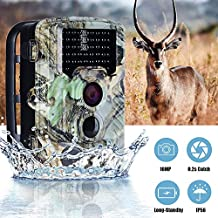 "2018 Hunting Trail Camera 16MP 1080P 2.4"" TFT LCD Screen 120° Wide Angle HD 0.2S Trigger Time 65ft Infrared Scouting with Night Vision 46pcs IR LEDs for Outdoor Wildlife Monitor Farm Home Security"