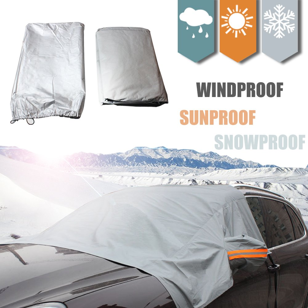 HOMEYA Windshield Sun Shade Half Top Snow Cover 70 x 59 Sizes for All Vehicles - Snow, Ice, Frost Guard No More Scraping! Sun Light Reflecting Surface - Heat Cold Windproof. Elastic Strap Attaches Didadi