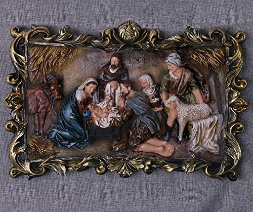 22-Inch Christmas Nativity Scene Wall Hanging Plate Décor