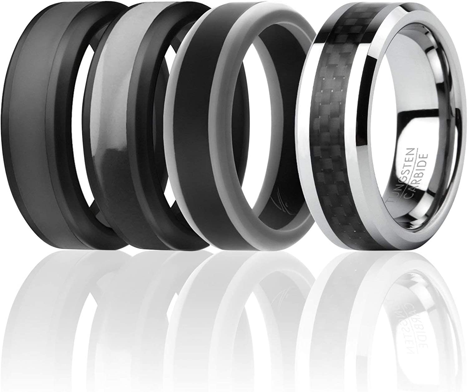 4 Pack 3 Silicone /& 1 Tungsten Carbide Wedding Rings for Men Mens Silicone Rings for Work//Sport//Hiking Carbon Fiber Style Tungsten Carbide Band for Special Events ROQ