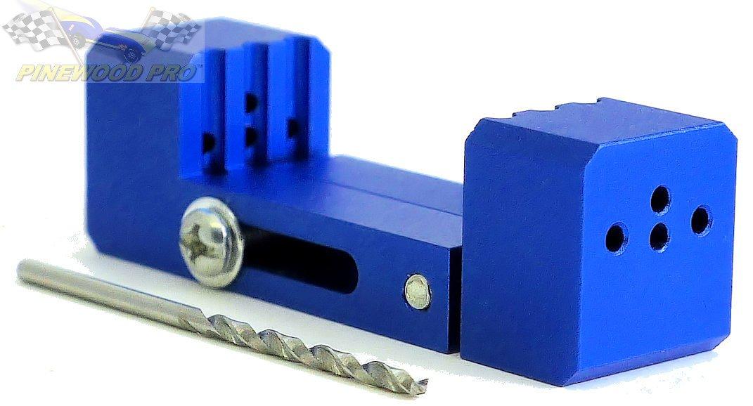 Pinewood Derby PRO Driller Tool - Straight Axle Holes - 2.5 Degree Axle Holes - Raised Wheel Hole