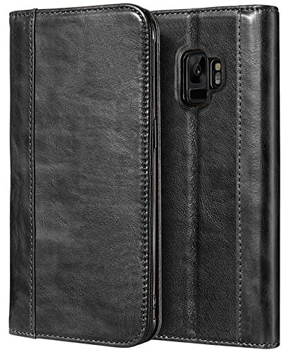 ProCase Galaxy S9 Genuine Leather Case, Vintage Wallet Folding Flip Case with Kickstand and Multiple Card Holders Protective Book Case Cover for 5.8 Samsung Galaxy S9 - Black