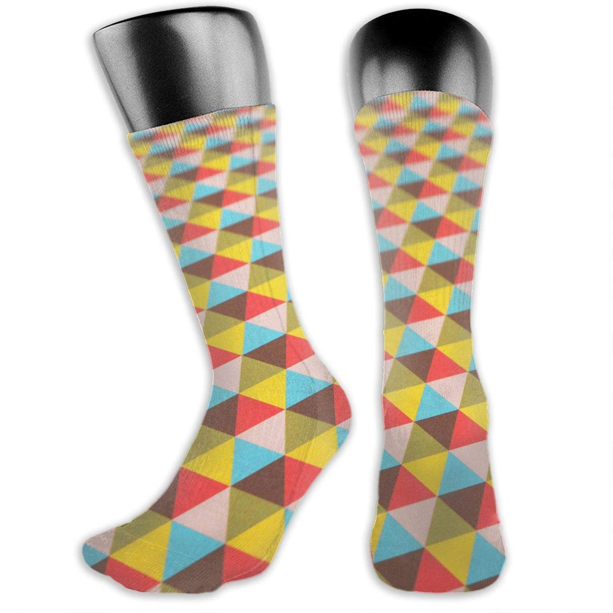 OLGCZM Triangles Pattern Men Womens Thin High Ankle Casual Socks Fit Outdoor Hiking Trail