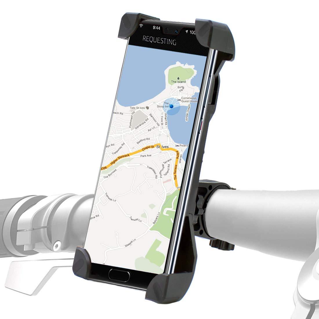 Soporte movil Bicicleta, rotación Universal 360 ° Soporte de Bicicleta para Manillar de Bicicleta para la mayoría de los teléfonos móviles, diseño de ...