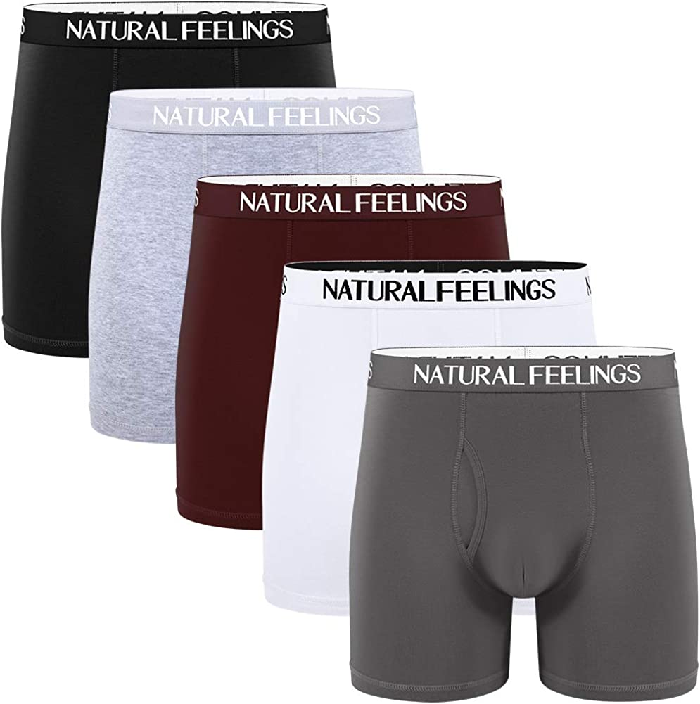 Natural Feelings Boxer Briefs Mens Underwear Men Pack Soft Cotton Open Fly Underwear