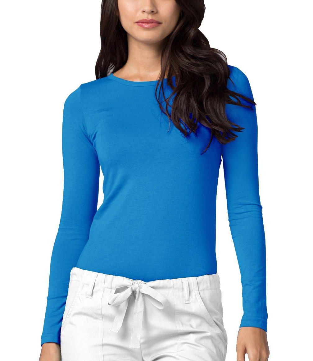 Adar Womens Comfort Long Sleeve T-Shirt Underscrub Tee - 2900 - Pool Blue - XXS
