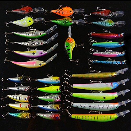 Fishing Lures Set 30Pcs Hard Bait Artificial Minnow Pencil Crankbait Popper Spinning Fishtackle Sea Fish^.