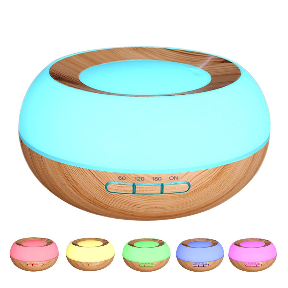 YCTA Essential Oil Diffuser, 300ml Wood Grain Ultrasonic Cool Mist Humidifier Multifunctional Aroma Diffuser for Home Bedroom Living Room Study Yoga Spa (Light Brown)
