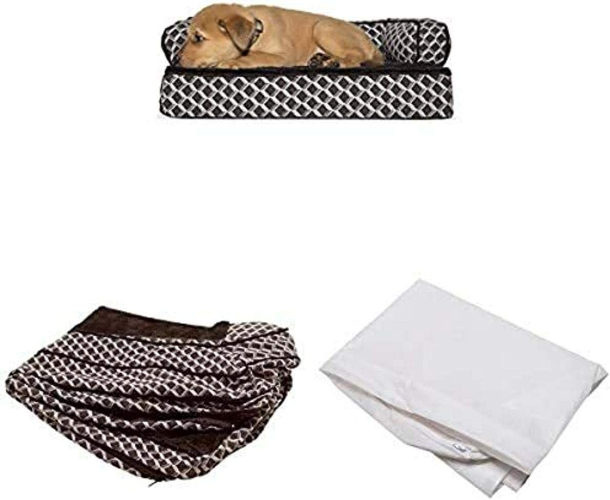 Furhaven Pet Bundle - Small Diamond Brown Orthopedic Plush Faux Fur & Décor Comfy Couch Sofa, Extra Dog Bed Cover, Water-Resistant Mattress Liner for Dogs & Cats