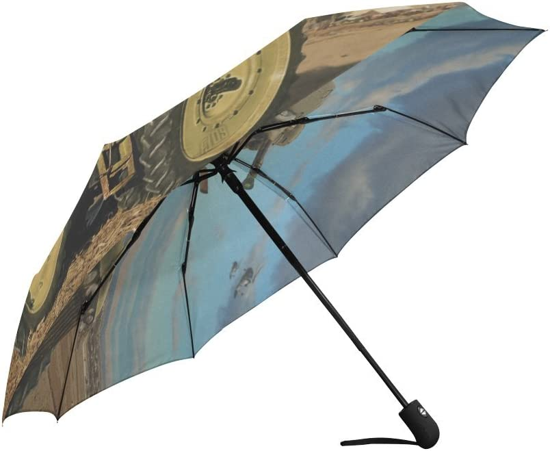Old Tractor Windproof Rainproof Automatic Open And Close Foldable Umbrella,Travel Umbrella Compact Sun//Rain