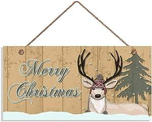 Merry Christmas Sign, Rustic Decor, Deer, Snow, Pine Tree,