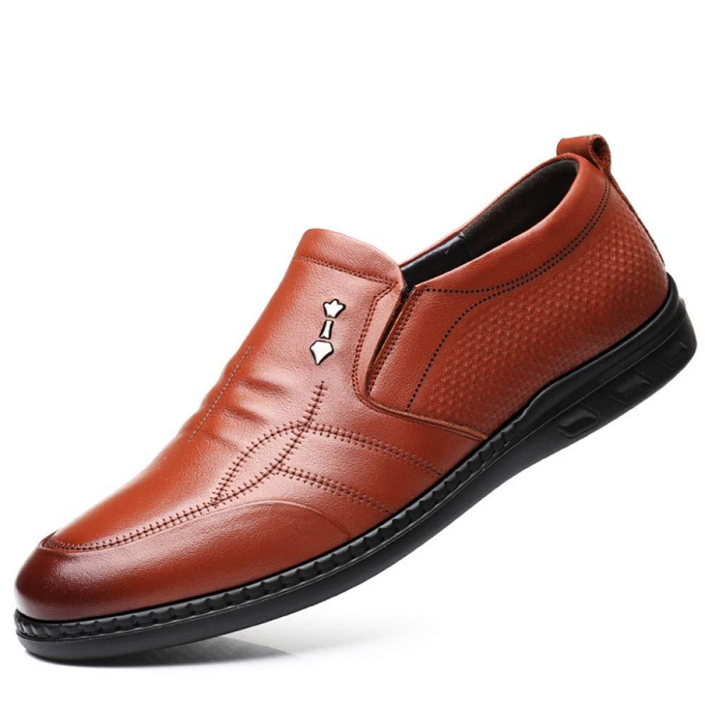 DAN Herren Lederschuhe Flache Schuhe Runden Kopf Weichen Boden Rutschfeste Beiläufige Einzelne Schuhe Papa Schuhe Reise Schuhe