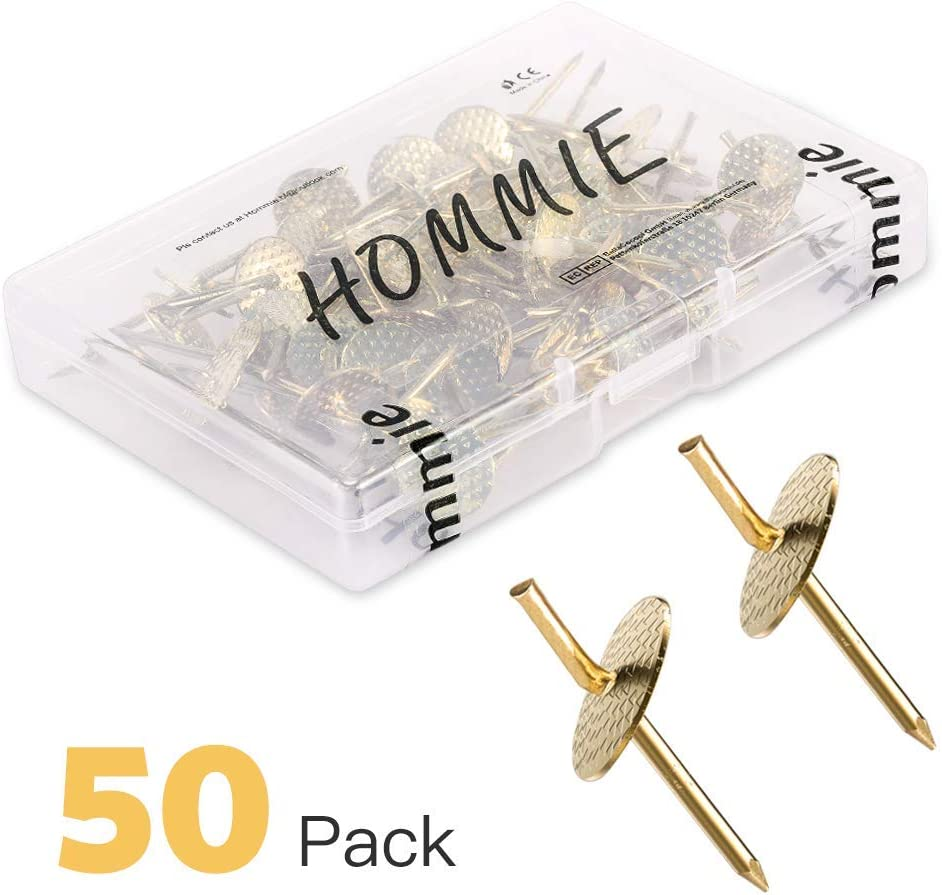 Hommie 50pcs Assorted One Step Hangers Iron Alloy Nail Hooks 20lbs Photo Picture Frame Hangers Professional Plaster Picture Hanging Kit on Wooden/Drywall Hanging Hardware for Clock,Mirror,Jewelry