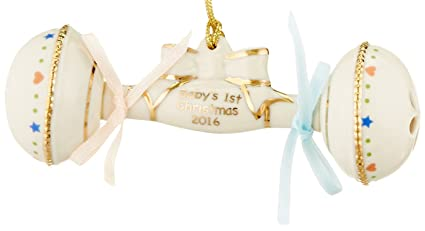 lenox 2016 babys first christmas rattle ornament