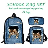 ThiKin Kids Travel Messenger Bag Back to School Backpack Pen Bag Set Cute Cat Print