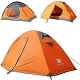 Anyoo ポータブル防水アルミポールと軽量と2人のキャンプのテントのキャリーバッグプレミアムリップストップ生地4シーズンアウトドアハイキング旅行バックパッキングのために2つのドア