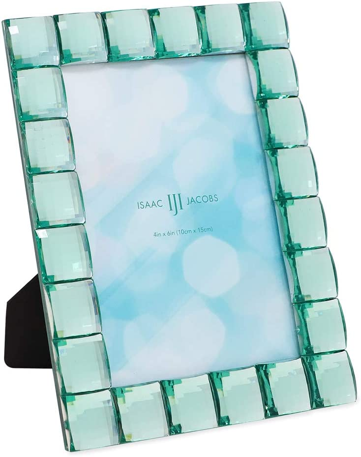 Isaac Jacobs Decorative Sparkling Light Green Jewel Picture Frame, Photo Display & Home Décor (4x6, Light Green)
