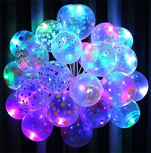 URBeauty 50PCS 12 Inches Pattern Holiday LED Light Up Balloons Glow Flash Lights Mixed Color Christmas Birthday Party Home Decoration Suppies