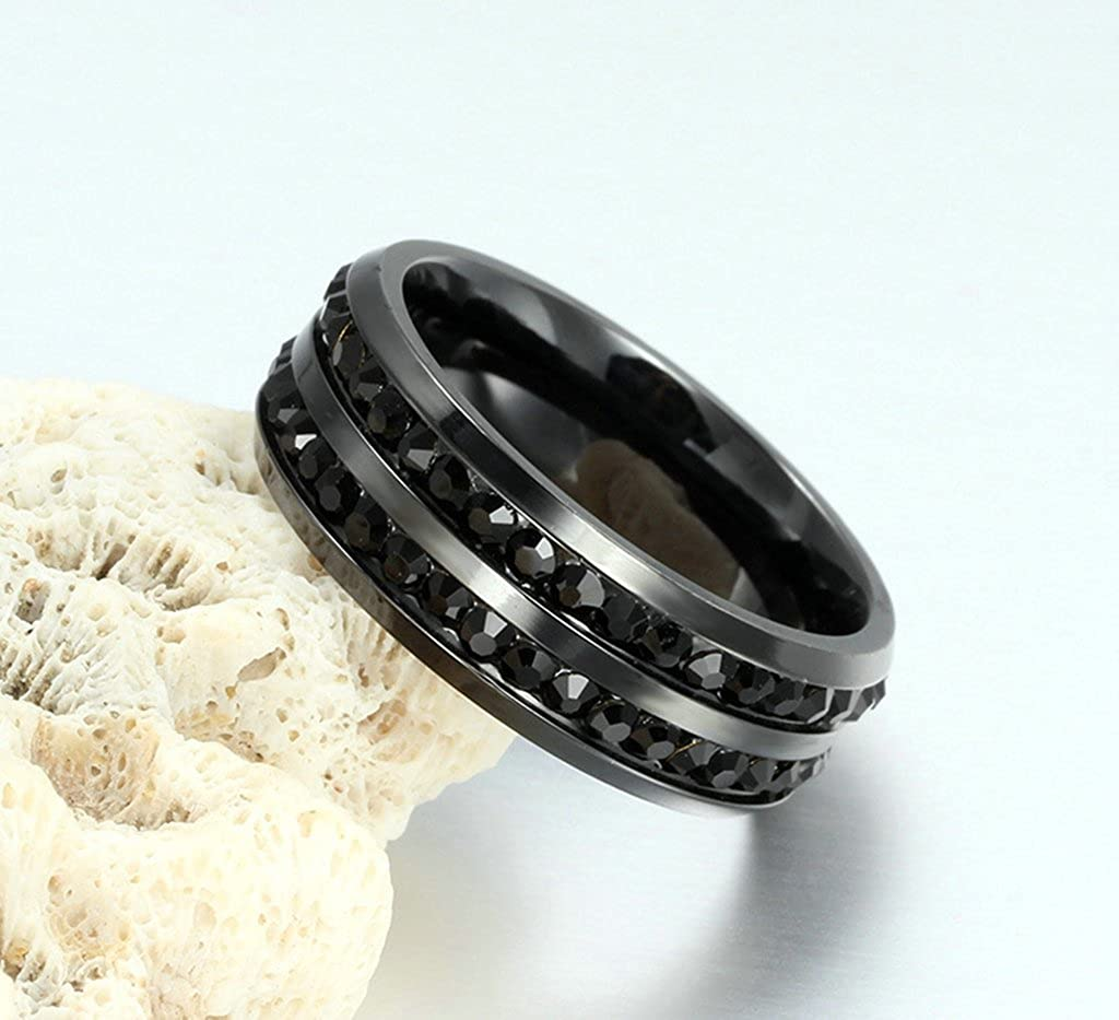 Bishilin Stainless Steel 8MM Eternity Ring Engagement Band Wedding Band with Black Zirconia