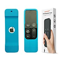 Akwox Light Weight [Anti Slip] Shock Proof Silicone Cover for New Apple Tv 4th/4k Generation Siri Remote Controller (Blue)