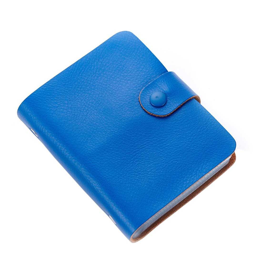 Business Card Holder, Boshiho Genuine Leather Credit Name ID Card Holder Book, Office Journal Business Cards Organizer (Blue)