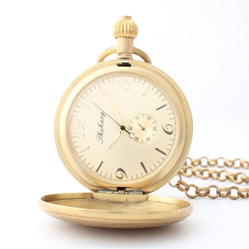 Zxcvlina Classic Smooth Creative Carving Golden Retro Pocket Watch Unisex Copper Mechanical Pocket Watch with Chain for Gift Suitable for Gift Giving by Zxcvlina (Image #2)