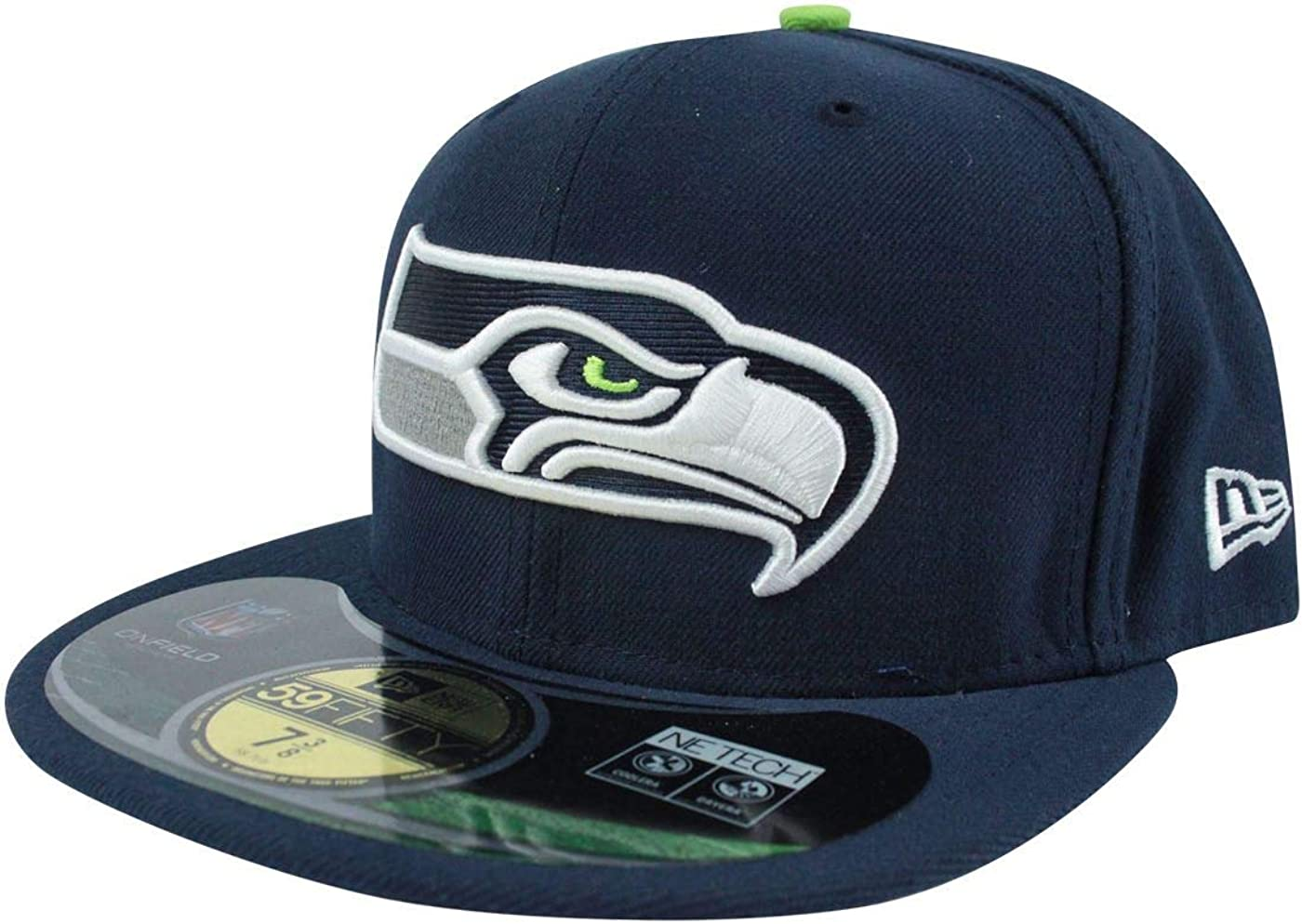 SEATTLE SEAHAWKS BLACK NEW ERA 59FIFTY FITTED BASEBALL NFL CAP HAT