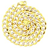 """LoveBling 14k Yellow Gold 11mm Solid Pave Curb Cuban Chain Necklace with White Gold Pave Diamond Cut W/Lobster Lock (18"""" to 30"""")"""