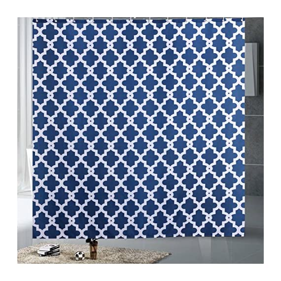 "Luunaa Geometric Patterned Shower Curtain Waterproof  , 72 x 72 Inch with 12 Hooks (Blue Geometric 72"" x 80"" ) - The fabric does not fade, perfectly weighted, very durable and easy care, use wet cloth and mild detergent to wipe off the dirt or machine wash directly. 72"" x 72"" (180 x 180 cm)/ 72"" W x 80"" L( 180W x 200L cm) for multiple choices; 12 Rust Proof Metal Grommets; Package include 1 x shower curtain and 12 x plastic curtain hooks We offer you high quality products with so favorable price and best service . Items can be returned within 30 days of receipt of shipment if you are not satisfied for any rea - shower-curtains, bathroom-linens, bathroom - 61UiGGmByxL. SS570  -"
