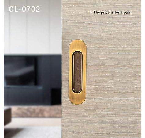 Gedotec - Tirador para puerta corredera (ovalado, empotrado, 3665C, 121 x 33 mm, acabado en latón pulido con aspecto dorado, 1 unidad): Amazon.es: Bricolaje y herramientas