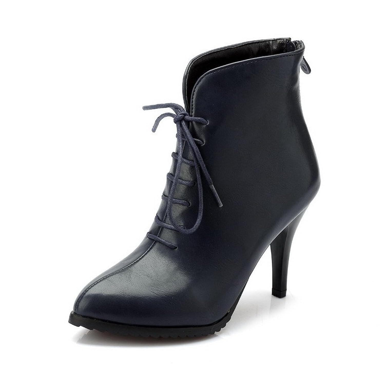 AgooLar Damen Rein Hoher Absatz PU Reißverschluss Rund Zehe Stiefel, Blau, 33