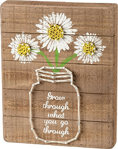 Daisy Mason Jar Quote String Art Sign Grow Through What You Go Through 8 x 10 (Strings Daisy)