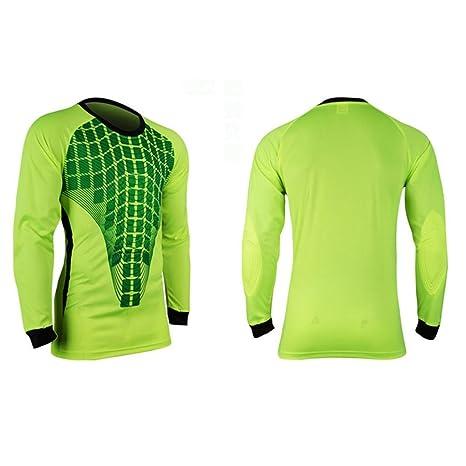 2b2ed80d17d COOLOMG Men Pants M-3XL Soccer Keeper Football Goalkeeper Goalie Foam  Padded Jersey Shirt Green