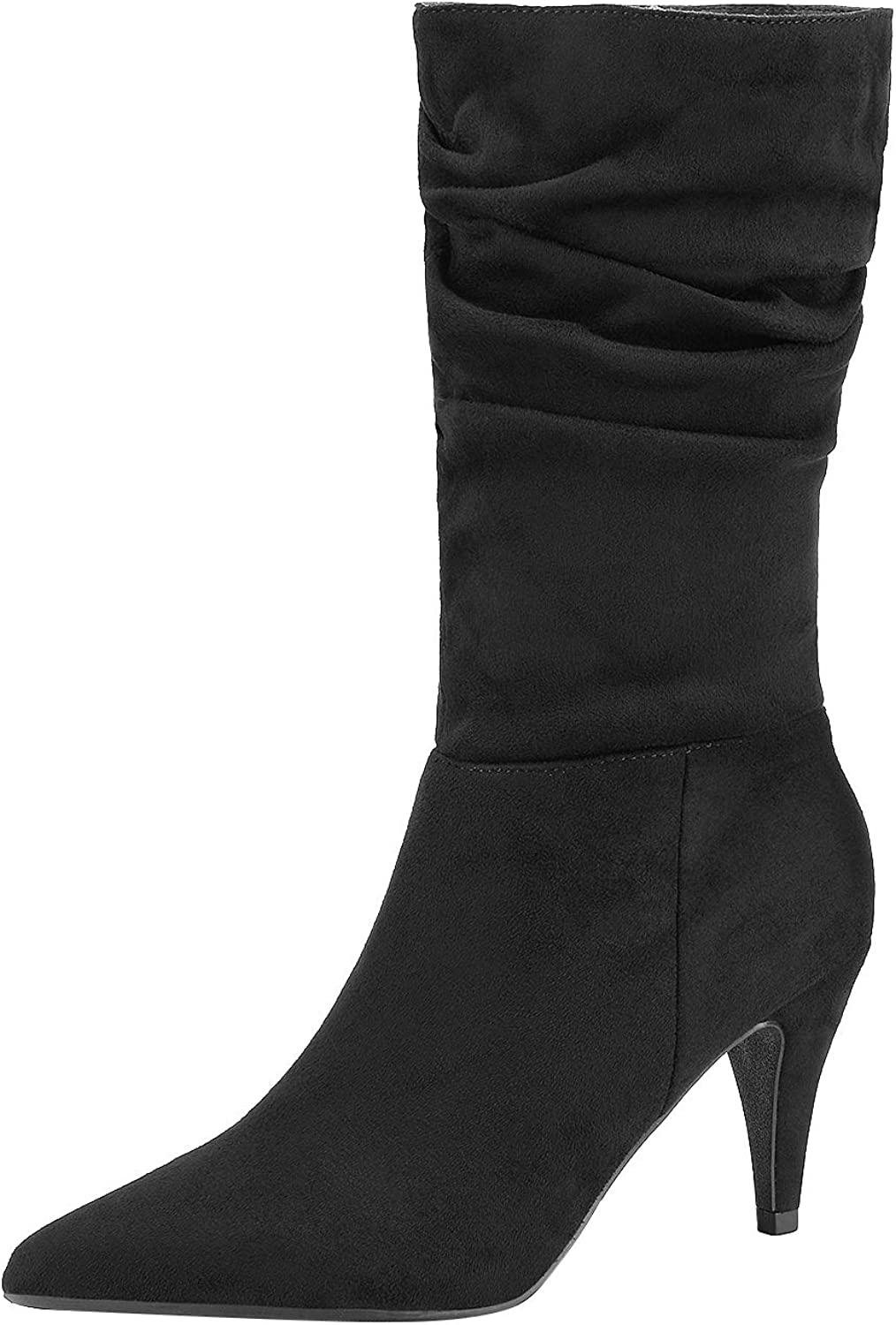 DREAM PAIRS Women Pointed Toe Mid Calf Stiletto High Heel Slouch Zipper Boots