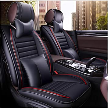 3PCS PU Leather Deluxe Car Cover Seat Protector Cushion Black Full 5-Seat Cover
