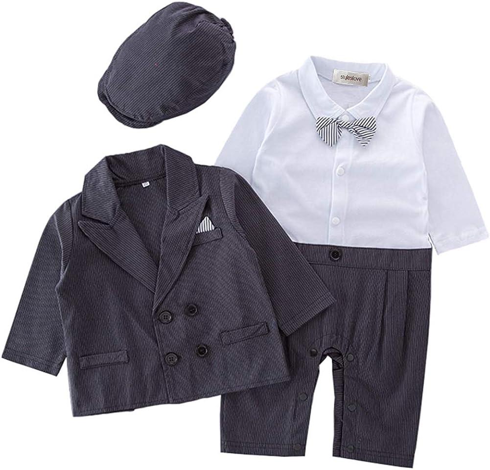 stylesilove Infant Toddler Baby Boys Gentlemen 4-Piece Tuxedo Suit Formal Wear Outfit