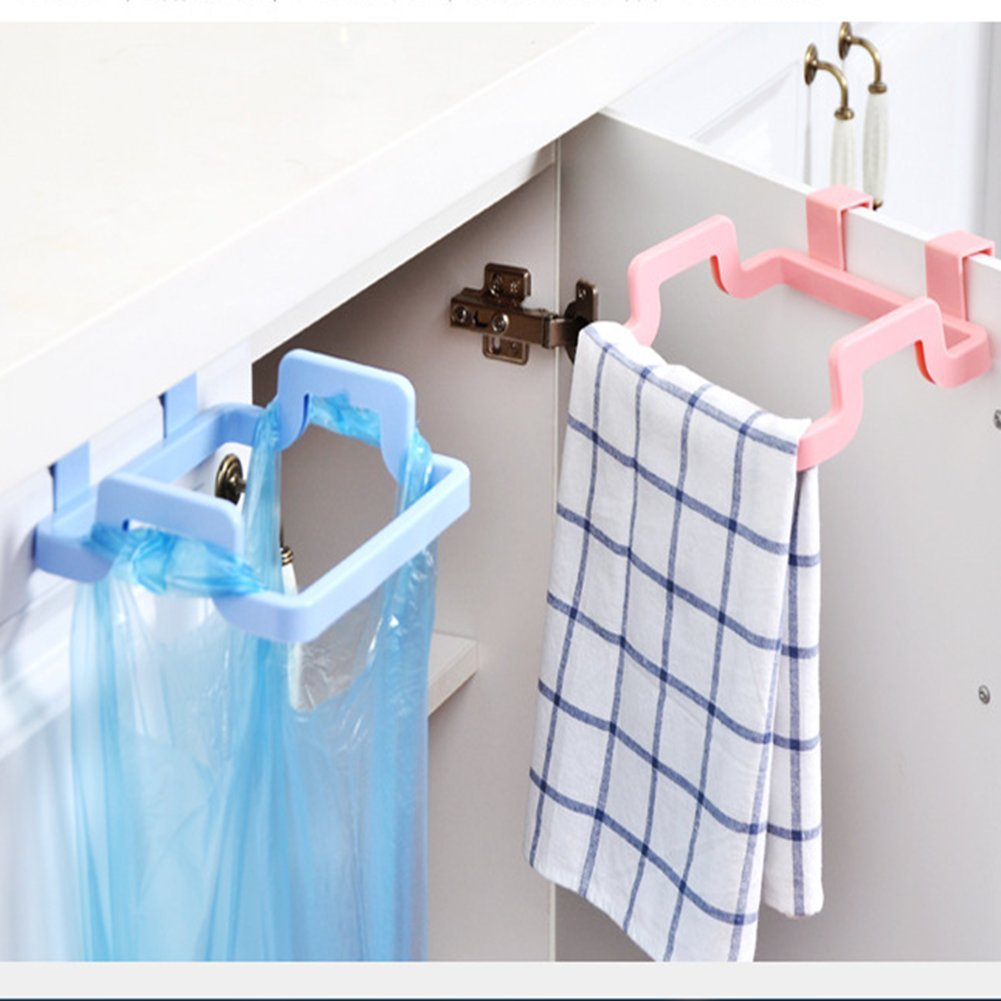 Creative Kitchen Hanging Plastic Rubbish Bags Holder Cupboard Trash Bag Holder,Cabinet Tailgate Style of Storage Garbage Bag Bracket (Pack of 2,Random Color) HuaPa