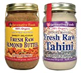 2 Jar Nut Butter Combo Pack: Raw Organic Almond Butter and Sesame Tahini, Fresh Low Temperature Ground