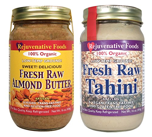 2 Jar Nut Butter Combo Pack: Raw Organic Almond Butter and Sesame Tahini, Fresh Low Temperature Ground by Rejuvenative Foods