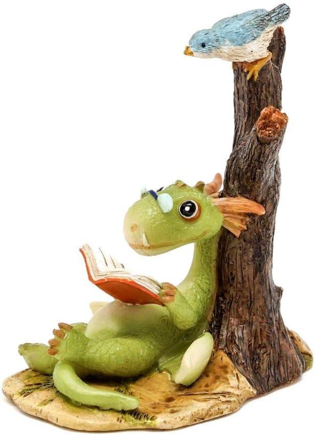 Mini Dragon Scaley Reading Book, Fairy Garden Dragon, Terrarium, Dragon