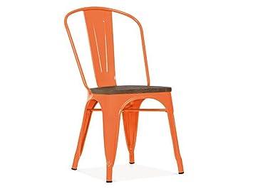 Chaise Bistrot Metal Orange Et Bois Industrielle Industry Meuble